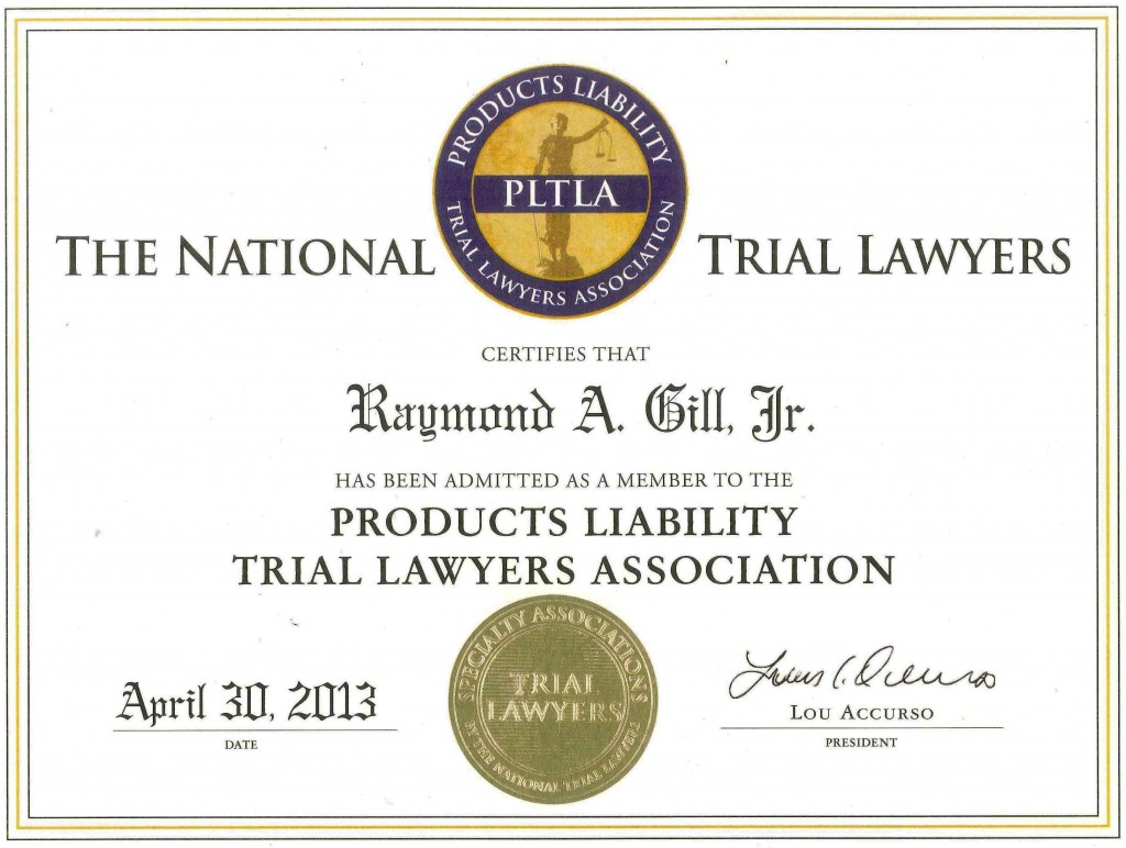 Products Liability - Trial Lawyers Association Admission